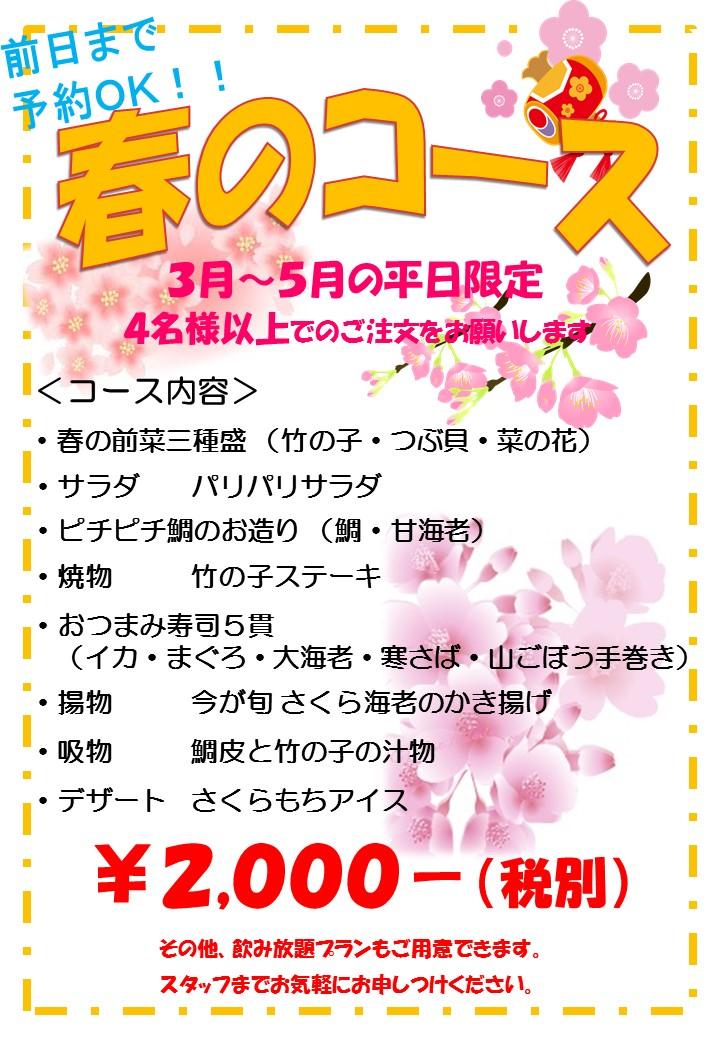 3月からの平日限定のお得コース予約受付中!!
