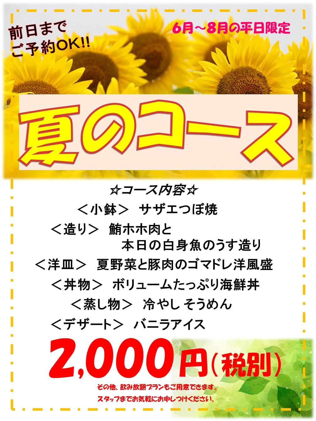 平日限定!!夏コース!!